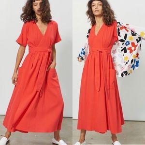 Anthropologie Mara Hoffman  Red Ingrid Wrap Dress